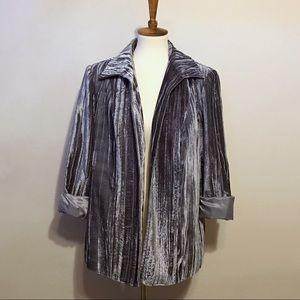 Vintage Silver Crushed Crinkle Velvet Blazer